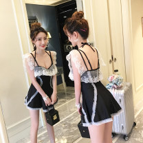 one piece  Wave Butterfly Size M (80-100 Jin recommended, size L (96-116 Jin recommended), size XL (110-130 Jin recommended), size XXL (128-145 Jin recommended) black Skirt one piece Steel strap breast pad Nylon, spandex, polyester, others female Sleeveless Casual swimsuit Solid color backless
