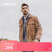 Jacket Simwood Youth fashion Khaki 165/S,170/M,175/L,180/XL,185/XXL,190/XXXL routine standard Other leisure autumn Cotton 98% polyurethane elastic fiber (spandex) 2% Long sleeves Wear out Lapel Simplicity in Europe and America youth routine Single breasted Straight hem Loose cuff Solid color corduroy