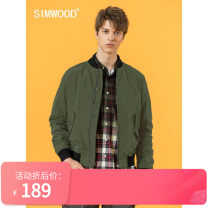Jacket Simwood Youth fashion Black, army green 165/S,170/M,175/L,180/XL,185/XXL,190/3XL routine standard Other leisure autumn SI9805141 Polyester 100% Long sleeves Wear out stand collar Simplicity in Europe and America youth routine Zipper placket Straight hem washing Closing sleeve Embroidery