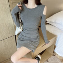 Dress Spring 2021 Black grey Average size Short skirt singleton  Long sleeves commute Crew neck High waist Solid color Socket A-line skirt routine 18-24 years old Shaniwei Korean version XNW8718# More than 95% other cotton Cotton 95% polyurethane elastic fiber (spandex) 5%