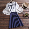 Dress Summer 2021 S M L XL 2XL Middle-skirt Fake two pieces Short sleeve Sweet Admiral middle-waisted other Socket A-line skirt routine Others Under 17 Type A Yufeifan 51% (inclusive) - 70% (inclusive) cotton Cotton 65% polyester 35% college Pure e-commerce (online only)