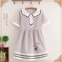 Dress Summer of 2019 F code (single code) Middle-skirt singleton  Short sleeve Sweet Admiral Loose waist Abstract pattern Socket Big swing raglan sleeve Others Under 17 Type A Yufeifan Splicing 51% (inclusive) - 70% (inclusive) cotton Cotton 65% polyester 35% college Pure e-commerce (online only)