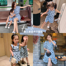 Parent child fashion Water blue one-piece trouser skirt, water blue dot dress, water blue dot vest skirt, water blue suit A family of three female luson 73, 80, 90, 100, 110, 120, 130, 140, s, m, l GTX9849/GEX2164/GEX2162 summer leisure time routine Solid color trousers cotton GTX9849 Other 100%