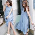 Dress Hot queen Light blue [cotton linen vest skirt] light pink [cotton linen vest skirt] M L XL XXL Korean version Sleeveless Medium length summer Crew neck Solid color Cotton and hemp LMHH-9208