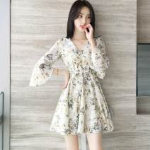 Dress Summer 2020 Blue apricot S M L XL 2XL Mid length dress singleton  elbow sleeve commute V-neck High waist Broken flowers Socket A-line skirt pagoda sleeve 18-24 years old Type A Pink Avril Korean version Printed Ruffle More than 95% Chiffon other Other 100% Pure e-commerce (online only)