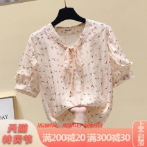 Lace / Chiffon Summer 2021 Apricot white S M L XL XXL Short sleeve commute Socket singleton  easy Regular V-neck Decor routine 25-29 years old Pink Avril bow Korean version Other 100% Pure e-commerce (online only)
