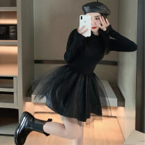 Lace / Chiffon Autumn 2020 black S M L Long sleeves commute Straight cylinder Regular Crew neck Solid color routine 18-24 years old Ou Yulin 8099mvsR Korean version 96% and above Other 100% Pure e-commerce (online only)