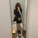 Dress Summer 2020 Black Khaki S M L XL Short skirt singleton  elbow sleeve commute tailored collar High waist Solid color double-breasted A-line skirt routine Others 18-24 years old Type A Ou Yulin Retro 51% (inclusive) - 70% (inclusive) polyester fiber Polyester 70% other 30%