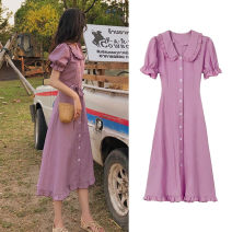 Women's large Summer 2020 Purple dress yellow dress S (within 90 kg) m (90 kg-105 kg) l (105-120 kg) XL (120-135 kg) 2XL (135-150 kg) 3XL (150-165 kg) 4XL (165-180 kg) Dress Two piece set Sweet easy moderate Socket Short sleeve Striped solid flowers square neck puff sleeve C3-07WCFS6036-A Ou Yulin