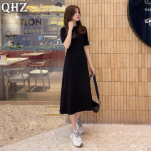 Dress Spring 2021 Black [half sleeve] S M L XL Mid length dress singleton  elbow sleeve commute Crew neck High waist Solid color Socket A-line skirt routine Others 18-24 years old Type A Beautiful rainbow Korean version QHZ-X502# More than 95% other cotton Cotton 95% other 5%