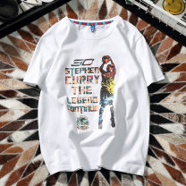 T-shirt Youth fashion routine S M L XL 2XL 3XL 4XL Audu Wolf Short sleeve Crew neck easy daily summer Cotton 100% teenagers routine tide Summer of 2018 character printing Figure pattern Pure e-commerce (online only)