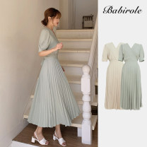 Dress Summer 2020 Yellow, mint green S,M,L,XL longuette singleton  Short sleeve commute V-neck Solid color zipper Pleated skirt puff sleeve 18-24 years old Type A Korean version