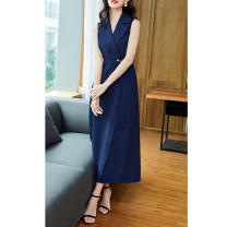 Dress Summer of 2019 navy blue S M L XL XXL longuette singleton  Sleeveless commute V-neck middle-waisted Solid color Socket A-line skirt other Others 25-29 years old Gunido Korean version Pocket strap button belt button G8136 More than 95% Chiffon polyester fiber Pure e-commerce (online only)