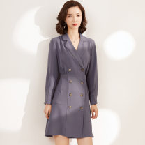 Dress Autumn of 2019 Grey black S M L XL XXL Mid length dress singleton  Long sleeves commute tailored collar High waist Solid color double-breasted A-line skirt routine Others 25-29 years old Type A Gunido Korean version Pleated panel button More than 95% brocade polyester fiber Polyester 100%