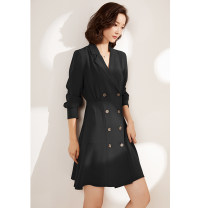 Dress Autumn of 2019 Grey black S M L XL XXL Mid length dress singleton  Long sleeves commute tailored collar High waist Solid color double-breasted A-line skirt routine Others 25-29 years old Type A Gunido Korean version Pleated button GU8301 More than 95% brocade polyester fiber Polyester 100%