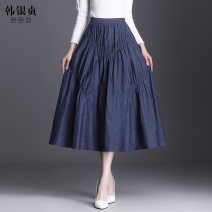 skirt Spring 2021 Average size blue Mid length dress grace High waist Denim skirt Solid color Type A 25-29 years old HYZ21YG4191 More than 95% Denim Han Yinzhen polyester fiber Pleated fold Polyester 97% other 3% Pure e-commerce (online only)