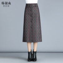 skirt Winter 2017 M L XL 2XL 3XL 4XL Mid length dress grace High waist A-line skirt lattice Type A 25-29 years old More than 95% Wool Han Yinzhen polyester fiber Pleated lace up button Polyester 97% other 3% Pure e-commerce (online only)