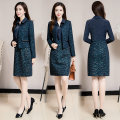Dress Winter of 2019 Blue check green flower L XL 2XL 3XL 4XL 5XL Mid length dress Two piece set Long sleeves commute Polo collar middle-waisted Decor Socket A-line skirt routine Others 40-49 years old Type A Moridan Korean version Three dimensional decorative zipper MLD48L15-19137# More than 95%