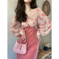Dress Spring 2021 S M L XL Mid length dress singleton  Long sleeves commute V-neck High waist Decor Socket One pace skirt puff sleeve 18-24 years old Zi Nu Ge 71% (inclusive) - 80% (inclusive) polyester fiber Polyester 80% other 20% Pure e-commerce (online only)