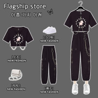 Women's large Summer 2021 Pants suit Other oversize styles Two piece set commute easy thin Socket Short sleeve Cartoon animation Korean version Crew neck have cash less than that is registered in the accounts Three dimensional cutting routine JMJFL8898#` Jiumei 25-29 years old chain Other 100%