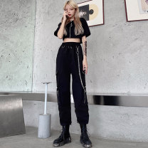 Women's large Summer 2021 Jacket and trousers suit Other oversize styles Two piece set commute Self cultivation thin Cardigan Short sleeve Solid color Korean version Crew neck have cash less than that is registered in the accounts Three dimensional cutting routine JMJFL540+2028# Jiumei chain trousers