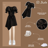 Women's large Summer 2021 black Dress singleton  commute Self cultivation thin Socket Short sleeve Solid color Korean version square neck Medium length Three dimensional cutting puff sleeve JMGT5083#. Jiumei 25-29 years old Medium length Other 100% Pure e-commerce (online only) Irregular skirt