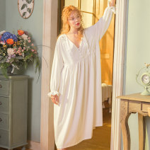 Nightdress Chelnlseey / Chen Xi White blue 155(S) 160(M) 165(L) Sweet Long sleeves pajamas longuette autumn Solid color youth V-neck cotton lace 81% (inclusive) - 95% (inclusive) Knitted cotton fabric 200g and below Autumn of 2018 Cotton 93% polyurethane elastic fiber (spandex) 7% no