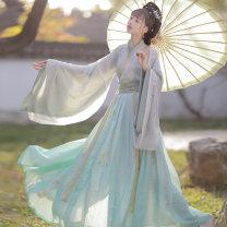 Hanfu 96% and above Autumn 2020 [Qianxun] green 3M pendulum (one ball), [Qianxun] green 4.5m pendulum (one ball), [Qianxun] blue 3M pendulum (one ball), [Qianxun] blue 4.5m pendulum (one ball) XS,S,M,L,XL polyester fiber