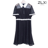 Dress Spring 2021 black S,M,L,XL longuette singleton  Long sleeves commute Crew neck High waist Solid color Socket A-line skirt routine 25-29 years old Type A Lace ZLC1375 Lace polyester fiber