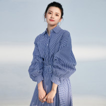 Dress Autumn 2020 Blue and white stripes S, M longuette singleton  Long sleeves Polo collar High waist stripe Single breasted Big swing Others 25-29 years old Type X Han Wei 02L313 cotton