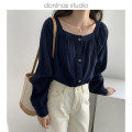 shirt Navy Blue Average size Spring 2021 cotton 51% (inclusive) - 70% (inclusive) Long sleeves commute Regular square neck Single row multi button puff sleeve Solid color 25-29 years old Straight cylinder the mind lh Korean version man-made fiber