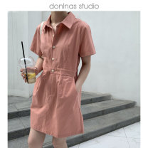 Dress Summer 2021 Yellow, pink, navy Average size Short skirt singleton  Short sleeve commute Polo collar Loose waist Solid color Single breasted A-line skirt routine Others 25-29 years old Type X Korean version Pocket, zipper More than 95% brocade cotton
