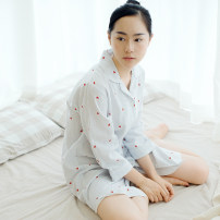 Pajamas / housewear set female Other / other M,L,XL August love shirt skirt - blue, August love shirt skirt - Pink cotton