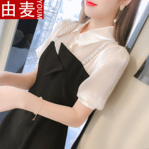 T-shirt black S M L XL Spring 2021 Short sleeve Polo collar Self cultivation Medium length bishop sleeve Sweet other 96% and above 25-29 years old youth Solid color You mai 2852sdf Asymmetric stitching three dimensional decorative button fold Other 100% solar system