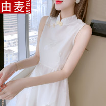 T-shirt Picture color S M L XL 2XL 3XL Summer 2021 Sleeveless stand collar Self cultivation Medium length routine Sweet other 96% and above 25-29 years old youth Solid color You mai 3D printing pleated zipper stitched button hem Other 100% solar system