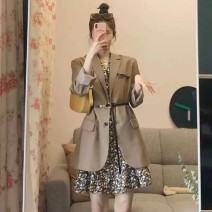Dress Summer 2021 Khaki coat picture color floral skirt S M L XL Short skirt Two piece set Long sleeves commute tailored collar High waist Solid color Single breasted A-line skirt routine Oblique shoulder 25-29 years old Type A Mo Ge Korean version Button More than 95% polyester fiber Polyester 100%