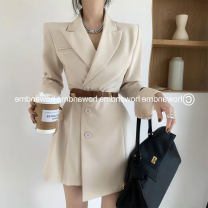 Dress Spring 2021 Black dark brown milky white S M L XL Short skirt singleton  Long sleeves commute tailored collar High waist Solid color double-breasted A-line skirt routine Oblique shoulder 25-29 years old Mo Ge Korean version Button More than 95% polyester fiber Polyester 100%