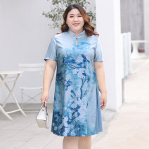 Women's large Spring 2021 blue XL 2XL 3XL 4XL 5XL 6XL Dress singleton  commute Straight cylinder thin Socket Short sleeve Other plants and flowers Korean version other polyester Three dimensional cutting routine WL21148 MuWa 30-34 years old 91% (inclusive) - 95% (inclusive) Medium length other