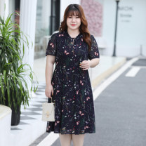 Women's large Summer 2020 Navy Blue XL 2XL 3XL 4XL 5XL 6XL Dress singleton  commute easy thin Conjoined Short sleeve Korean version other Three dimensional cutting other W20226 MuWa 30-34 years old Medium length Polyester 100% Pure e-commerce (online only)