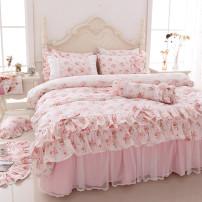 Bedding Set / four piece set / multi piece set cotton other Plants and flowers 133x72 cotton 4 pieces 40 Bed skirt First Grade Princess style 100% cotton twill Reactive Print