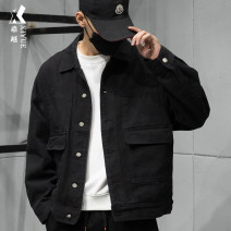 Jacket Xiyue Youth fashion S M L XL 2XL routine easy Other leisure autumn Cotton 100% Long sleeves Wear out Lapel tide youth routine Single breasted Round hem washing Loose cuff Solid color Denim Autumn of 2019 Button decoration Three dimensional bag Pure e-commerce (online only) cotton More than 95%