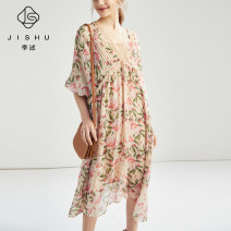 Dress Spring 2020 XS S M Mid length dress V-neck Decor Irregular skirt Bat sleeve 35-39 years old Quarterly account More than 95% silk Mulberry silk 100%