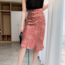 skirt Summer of 2019 S M L XL Mid length dress commute Natural waist A-line skirt Solid color 35-39 years old More than 95% Silk and satin Quarterly account silk Korean version Mulberry silk 100% Pure e-commerce (online only)