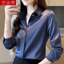 shirt S M L XL XXL Spring 2020 other 96% and above Long sleeves commute Regular Polo collar other routine Solid color 30-34 years old Straight cylinder Korean version Other 100% Pure e-commerce (online only)