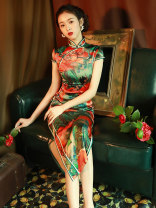 cheongsam Summer 2021 S M L XL XXL XXXL Orange red yellow Short sleeve long cheongsam Retro High slit daily Oblique lapel Decor Piping LGY-Q356 LAN Guiyu other Other 100% Pure e-commerce (online only) 96% and above