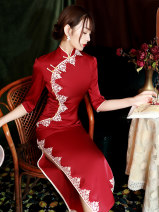cheongsam Winter 2020 S M L XL XXL XXXL XXXXL Red royal blue three quarter sleeve long cheongsam Retro High slit daily Oblique lapel Solid color Piping GSJ--6353 LAN Guiyu other Other 100% Pure e-commerce (online only) 96% and above