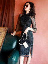 cheongsam Spring 2020 S M L XL XXL black three quarter sleeve Short cheongsam grace Low slit daily Be open-minded Solid color Piping TQX-2048 LAN Guiyu other Other 100% Pure e-commerce (online only) 96% and above