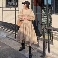 Dress Winter 2020 Beige S M L XL Mid length dress singleton  Long sleeves commute Crew neck High waist Solid color Socket A-line skirt routine 18-24 years old Type A Yizexiang Korean version fold Dress 1229 More than 95% Chiffon cotton Cotton 100%