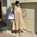 Dress Summer of 2019 Beige S M L XL Mid length dress Nine point sleeve commute V-neck High waist Solid color A-line skirt raglan sleeve 25-29 years old Yizexiang Korean version Monk dress 51% (inclusive) - 70% (inclusive) cotton Cotton 70% polyester 30% Pure e-commerce (online only)