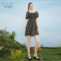 Dress Summer 2021 Black pattern A5 155/80A/S,160/84A/M,165/88A/L,170/92A/XL Mid length dress singleton  Short sleeve square neck middle-waisted Socket other puff sleeve 25-29 years old Type X Eichitoo / Aiju rabbit EQLBD2L704A More than 95% other polyester fiber
